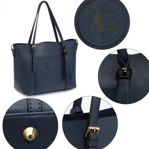 AG00595 - Navy Anna Grace Fashion Tote Bag With Tassel