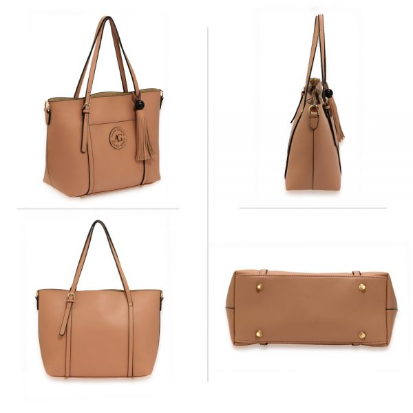 AG00595 - Nude Anna Grace Fashion Tote Bag With Tassel