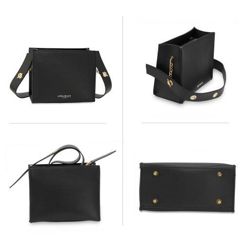 AG00596 - Black Anna Grace Fashion Tote Bag
