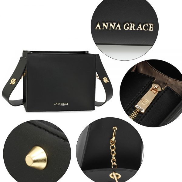 AG00596 - Black Anna Grace Fashion Tote Bag
