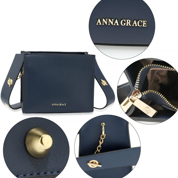 AG00596 - Navy Anna Grace Fashion Tote Bag