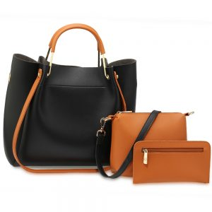 AG00610 - 3 Pieces Set Black / Tan Women's Fashion Handbags