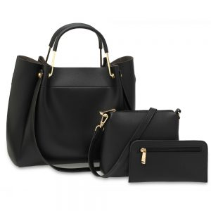 AG00610 - 3 Pieces Set Black Women's Fashion Handbags