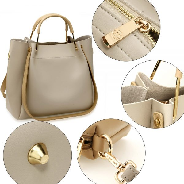 AG00610 - 3 Pieces Set Grey / Nude Women's Fashion Handbags
