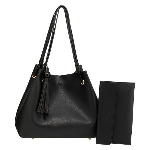 AG00611 - Black Women's Fashion Hobo Bag With Pouch