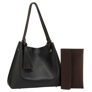 AG00611 - Black/Tan Women's Fashion Hobo Bag With Pouch