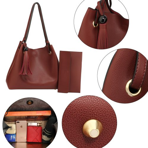 AG00611 - Burgundy Women's Fashion Hobo Bag With Pouch