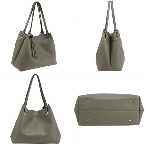 AG00611 - Grey Women's Fashion Hobo Bag With Pouch