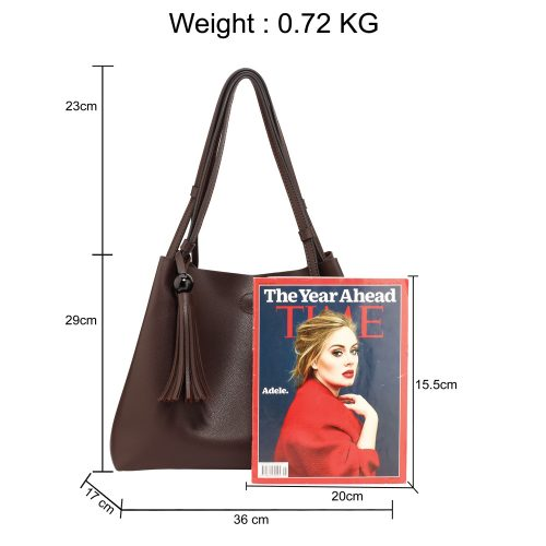 AG00611 - Tan Women's Fashion Hobo Bag With Pouch
