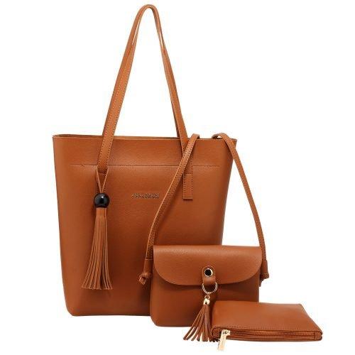 AG00612 - 3 Pieces Set Brown Women's Fashion Handbags