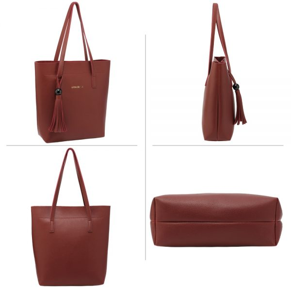 AG00612 - 3 Pieces Set Burgundy Women's Fashion Handbags