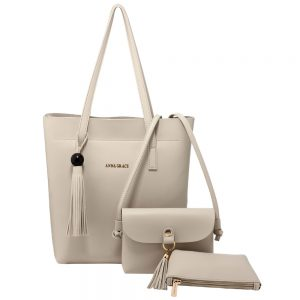 AG00612 - 3 Pieces Set Light Grey Women's Fashion Handbags
