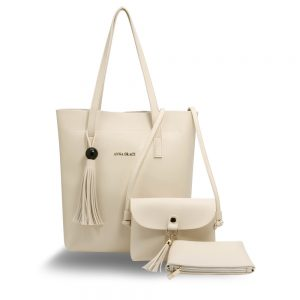 AG00612 - 3 Pieces Set Beige Women's Fashion Handbags
