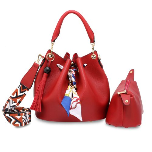 AG00615 - Red Drawstring Bucket Bag With Pouch
