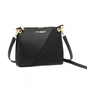 AG00616 - Black Anna Grace Cross Body Shoulder Bag