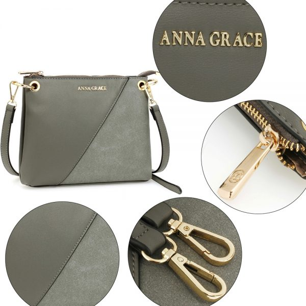 AG00616 - Grey Anna Grace Cross Body Shoulder Bag