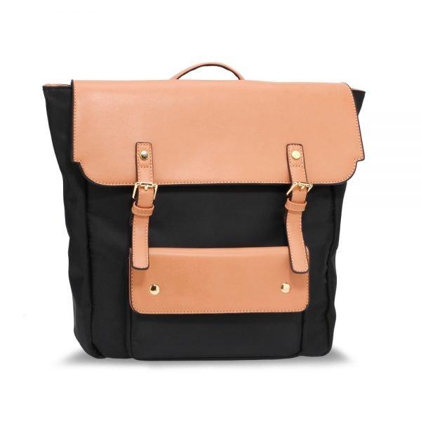 AG00617 - Black / Nude Backpack Rucksack School Bag