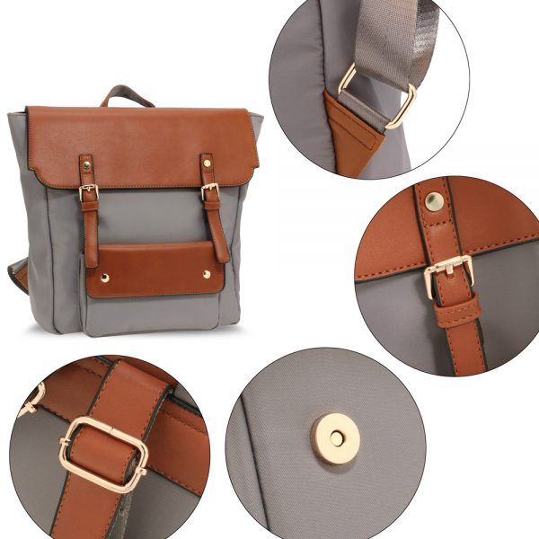 AG00617 - Grey / Tan Backpack Rucksack School Bag