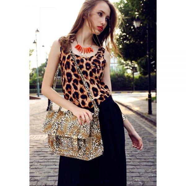 AG00672 - Brown Cheetah Design Satchel