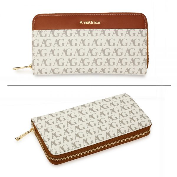 AGP1107 - White Anna Grace Print Zip Around Purse / Wallet