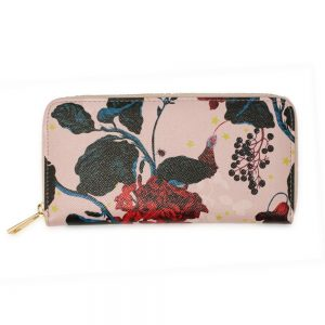 AGP1108 - Pink Floral Print Zip Around Purse / Wallet