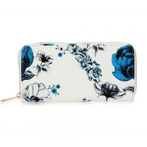 AGP1108 - White/Blue Floral Print Zip Around Purse / Wallet