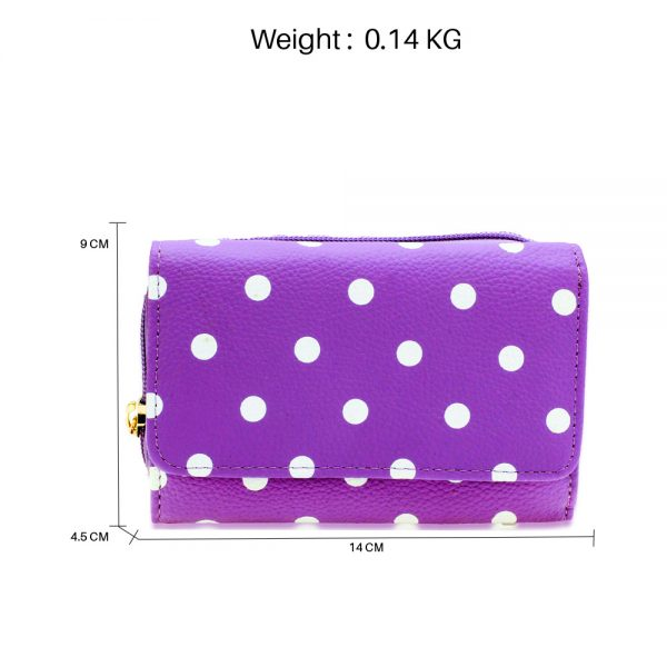 AGP1045B - Purple Polka Dot Design Purse/Wallet