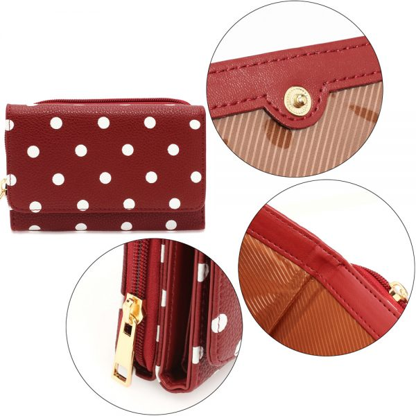 AGP1045B - Red Polka Dot Design Purse/Wallet