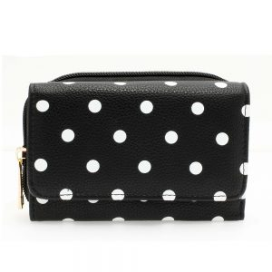 AGP1045B - Black Polka Dot Design Purse/Wallet