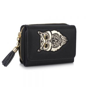 LSP1080 - Black Owl Design Purse/Wallet
