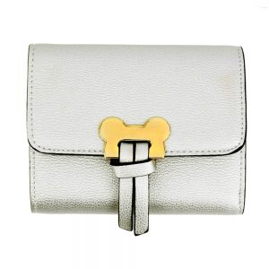 AGP1089 - Silver Flap Purse / Wallet With Gold Metal Work