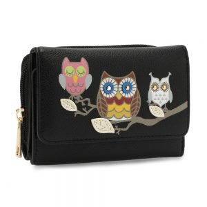 AGP1101 - Black Flap Owl Design Purse / Wallet