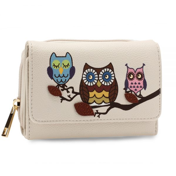 AGP1101 - Ivory Flap Owl Design Purse / Wallet