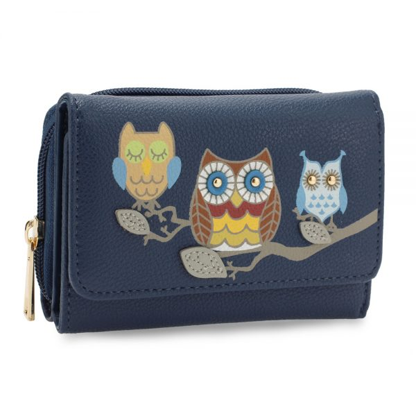 AGP1101 - Navy Flap Owl Design Purse / Wallet