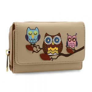 AGP1101 - Nude Flap Owl Design Purse / Wallet