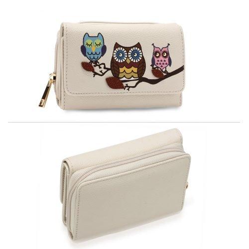AGP1101 - Ivory Flap Owl Design Purse / Wallet