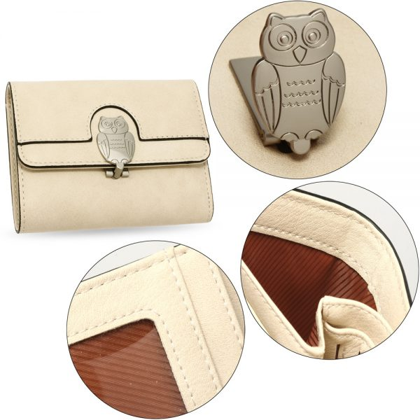 AGP1102 - Beige Flap Metal Owl Design Purse / Wallet