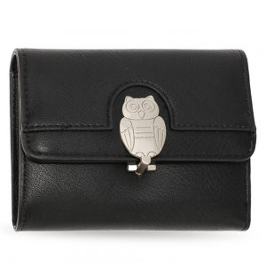 AGP1102 - Black Flap Metal Owl Design Purse / Wallet
