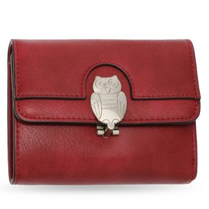 AGP1102 - Burgundy Flap Metal Owl Design Purse / Wallet