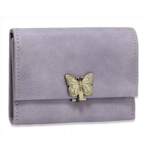 AGP1103 - Purple Flap Metal Butterfly Design Purse / Wallet