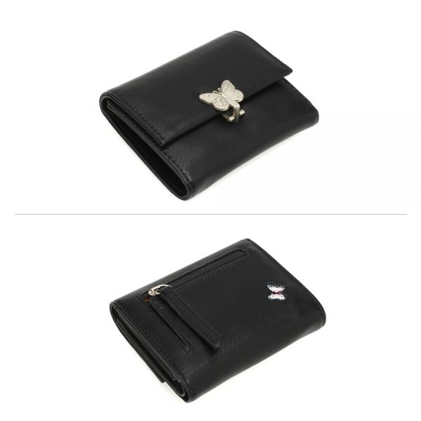 AGP1103 - Black Flap Metal Butterfly Design Purse / Wallet