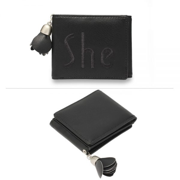 AGP1104 - Black Trifold Purse / Wallet With Charm