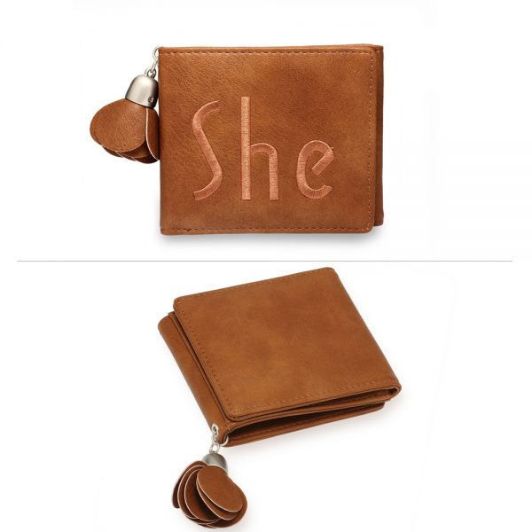AGP1104 - Tan Trifold Purse / Wallet With Charm