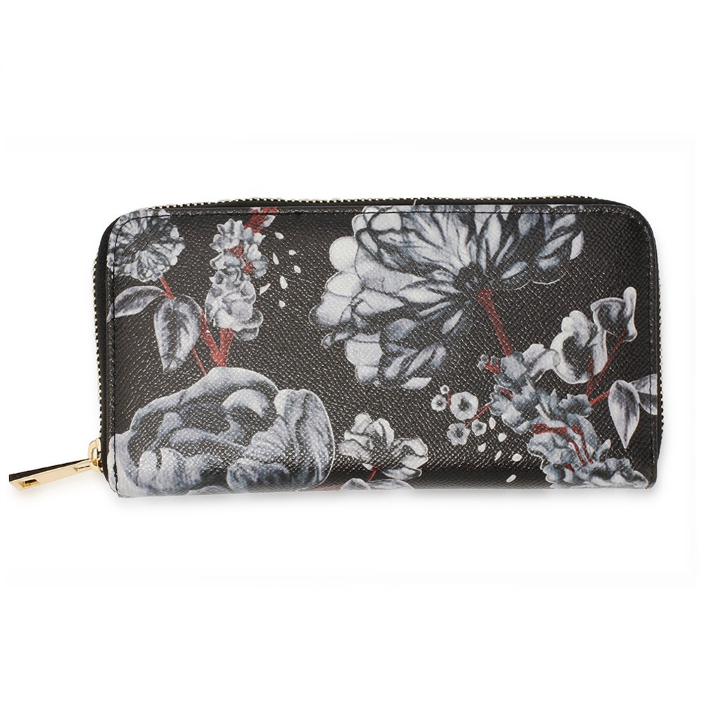 AGP1108 - Black/White Floral Print Zip Around Purse / Wallet