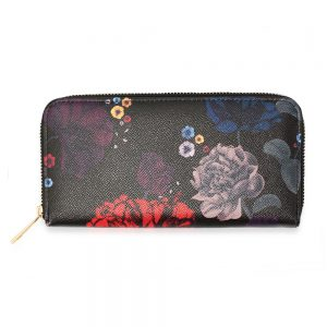 AGP1108 - Black Floral Print Zip Around Purse / Wallet