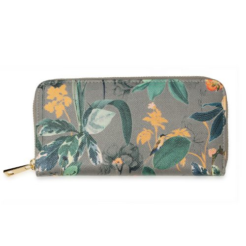 AGP1108 - Grey Floral Print Zip Around Purse / Wallet