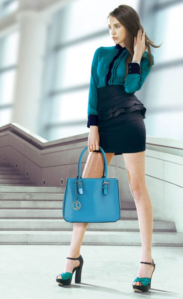 LS00176 - Teal Snakeskin Shoulder Bag