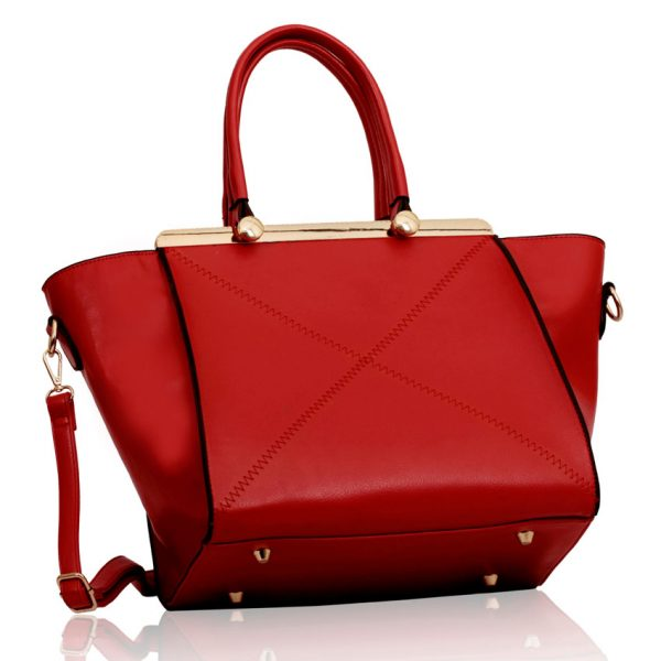 LS00180 - Red Metal Frame Tote Bag