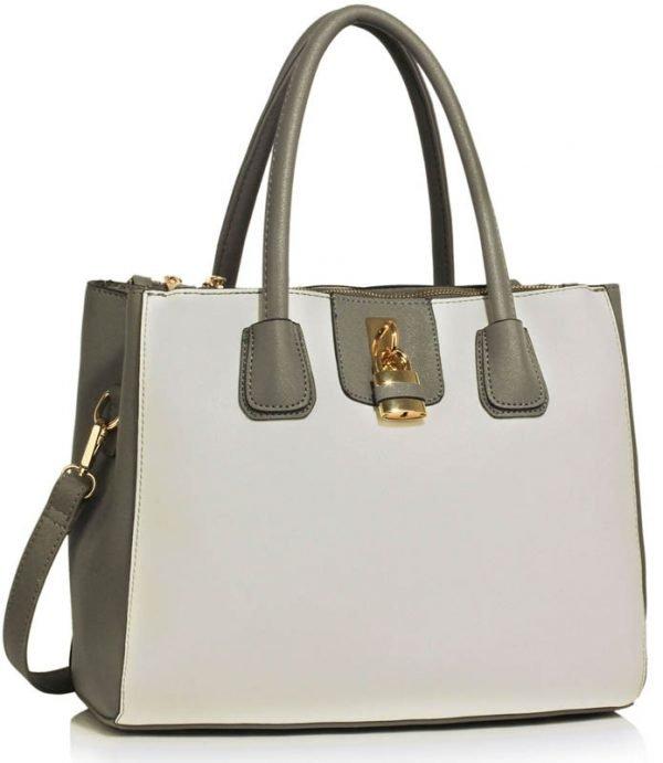 LS00195A - Grey / White Three Zipper Grab Bag