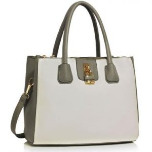 LS00195A - Grey / White Three Zipper Grab Bag